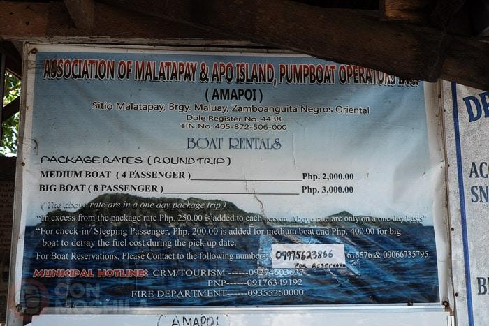 Precios del trayecto a Apo island