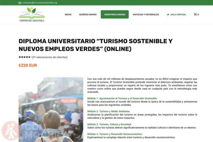 """Web del diploma universitario """"Turismo sostenible y nuevos empleos verdes"""""""