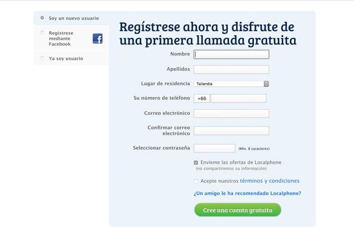 Página de registro en Localphone