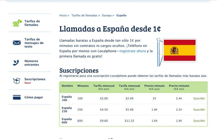 Tarifas para llamar a España