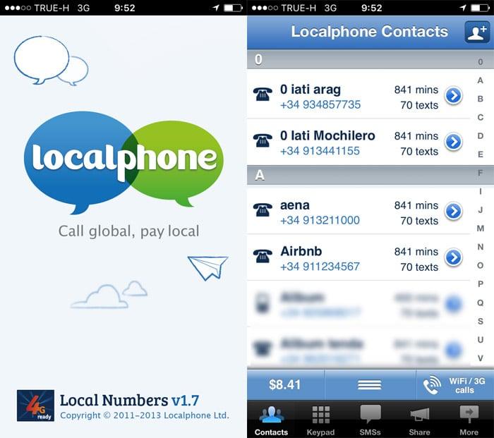 Aplicación Localphone para móviles