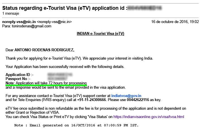 Mail de confirmación del proceso de petición del visado