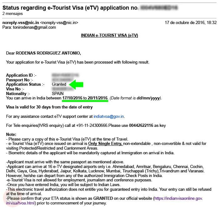 Visado de India online APROBADO (Granted)