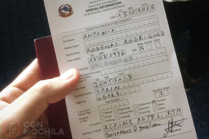 El formulario de inmigración cumplimentado