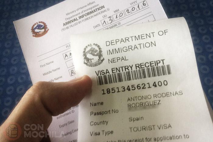 Ticket de registro de datos para el visado de Nepal