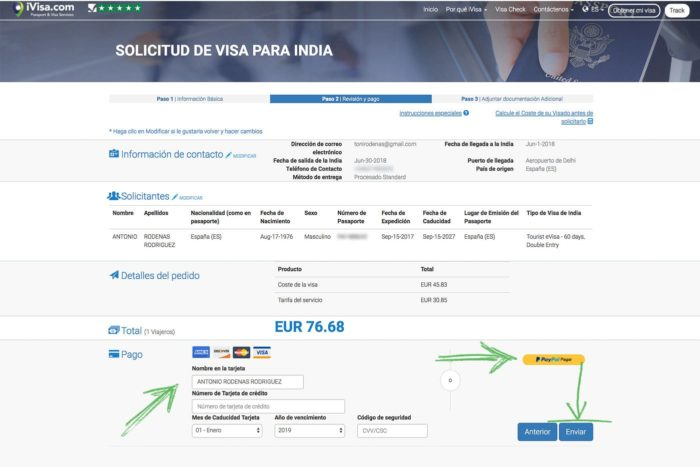 Formulario de pago del eVisa India