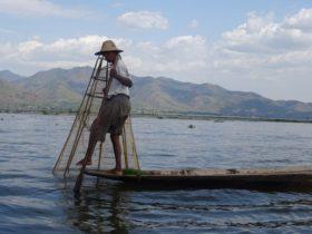 Pescador en el Lago Inle. Tuvimos la suerte de verlo pescar!!!!!