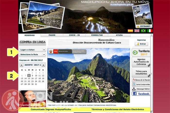 Página oficial para la compra de entradas de Machu Picchu