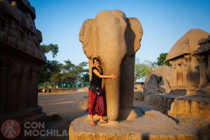 Elefante de roca en Mamallapuram