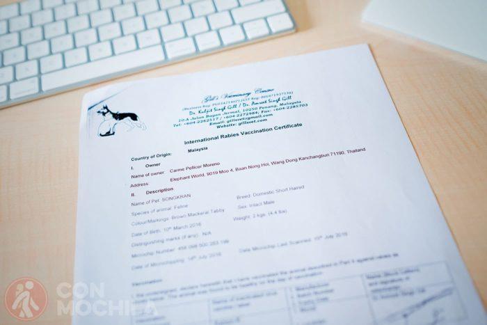 certificado internacional de vacunación de la rabia