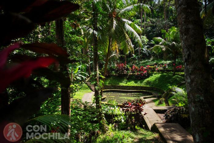 Otro de los bellos jardines con estanque y todo
