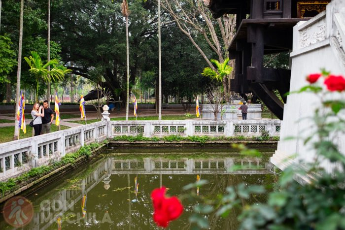 Estanque donde está ubicada la pagoda del pilar único