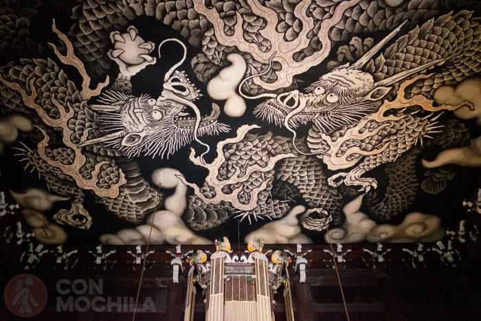 La pintura de los dos dragones del templo Kennin-Ji
