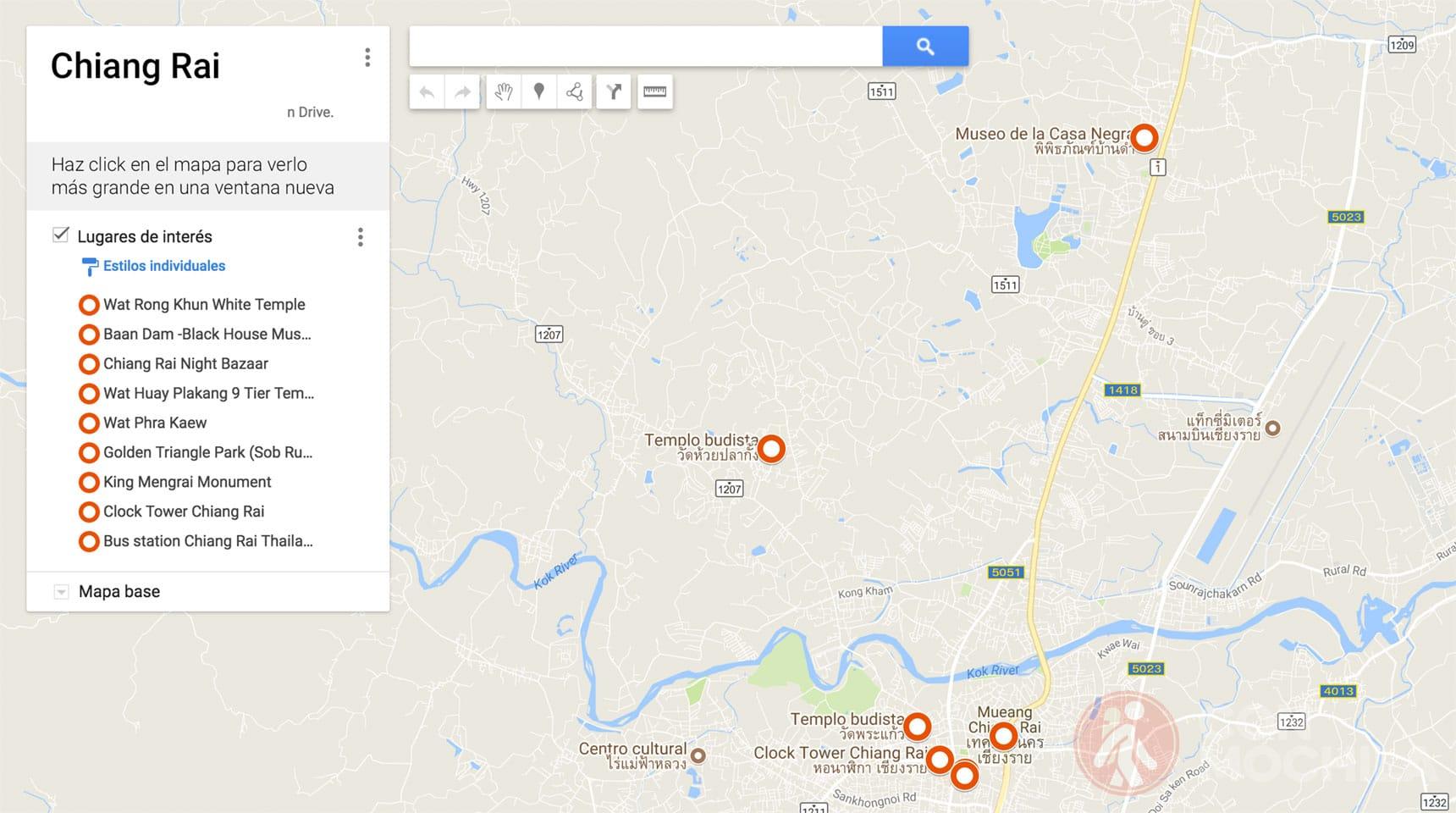 Mapa de Chiang Rai