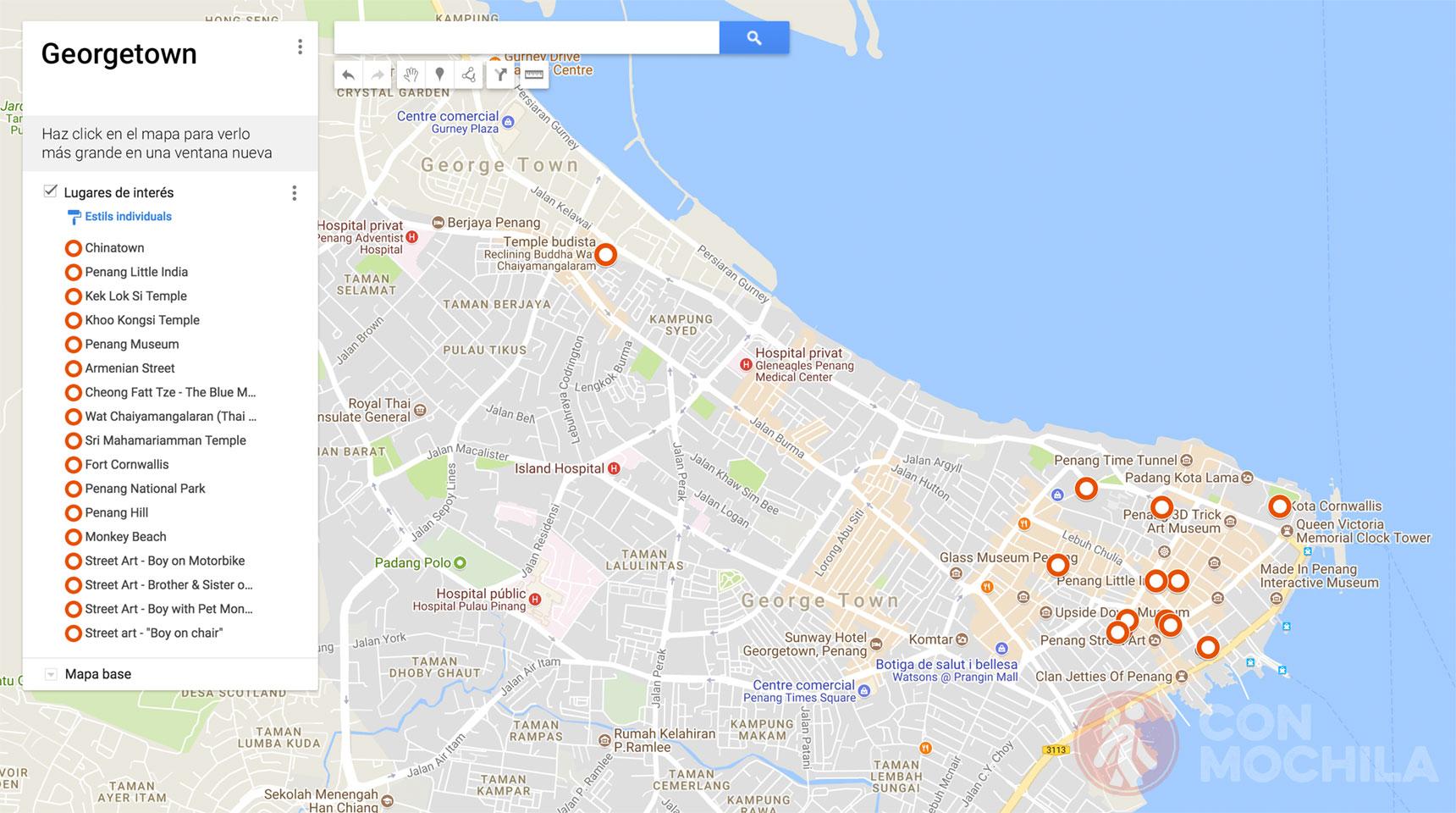 Mapa de Georgetown
