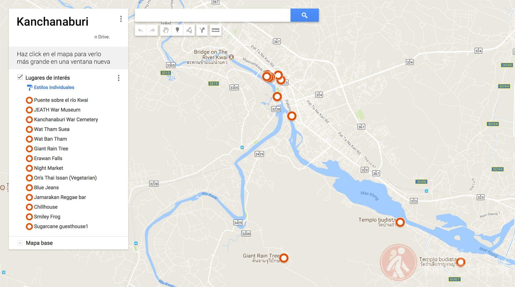 Mapa de Kanchanaburi