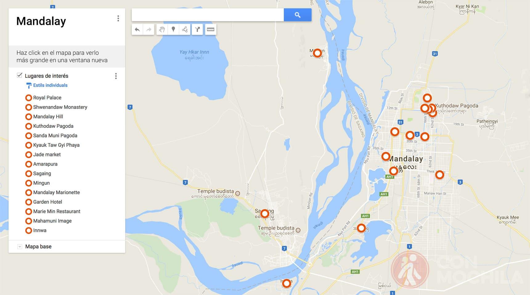 Mapa de Mandalay