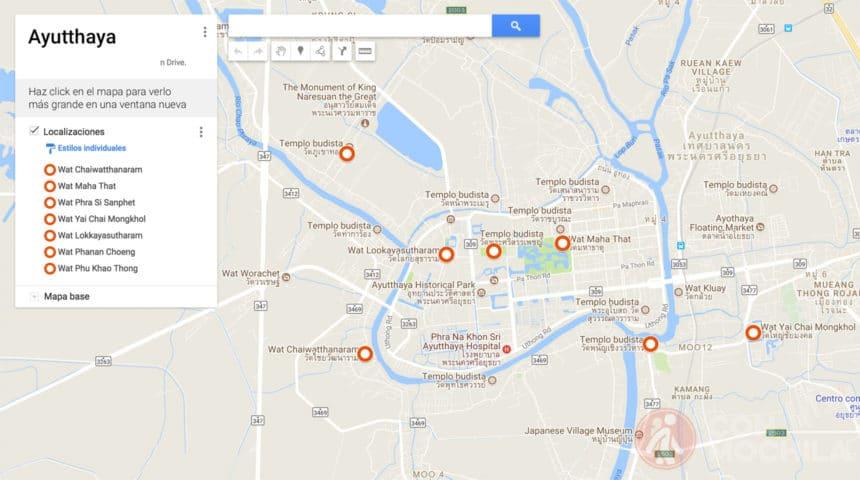 Mapa de Ayutthaya