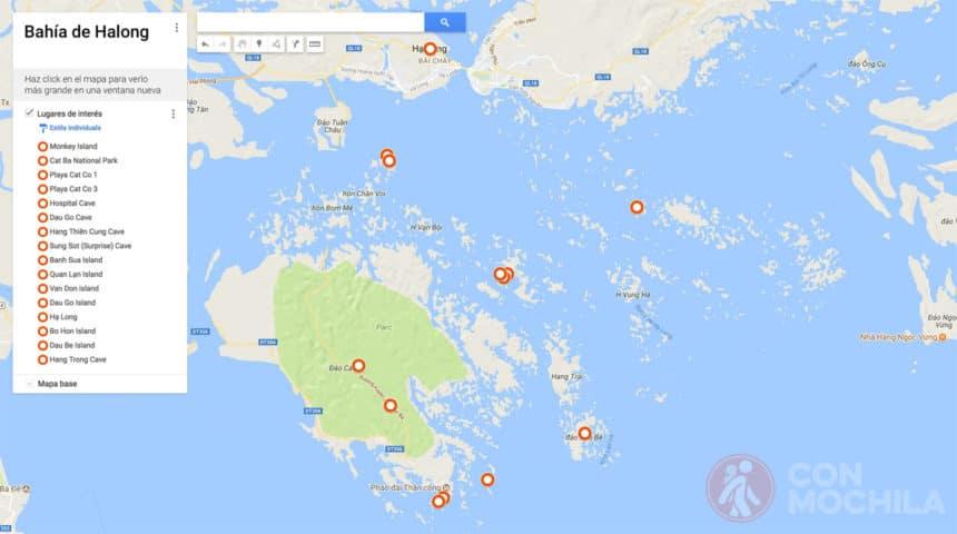 Mapa de la Bahía de Halong