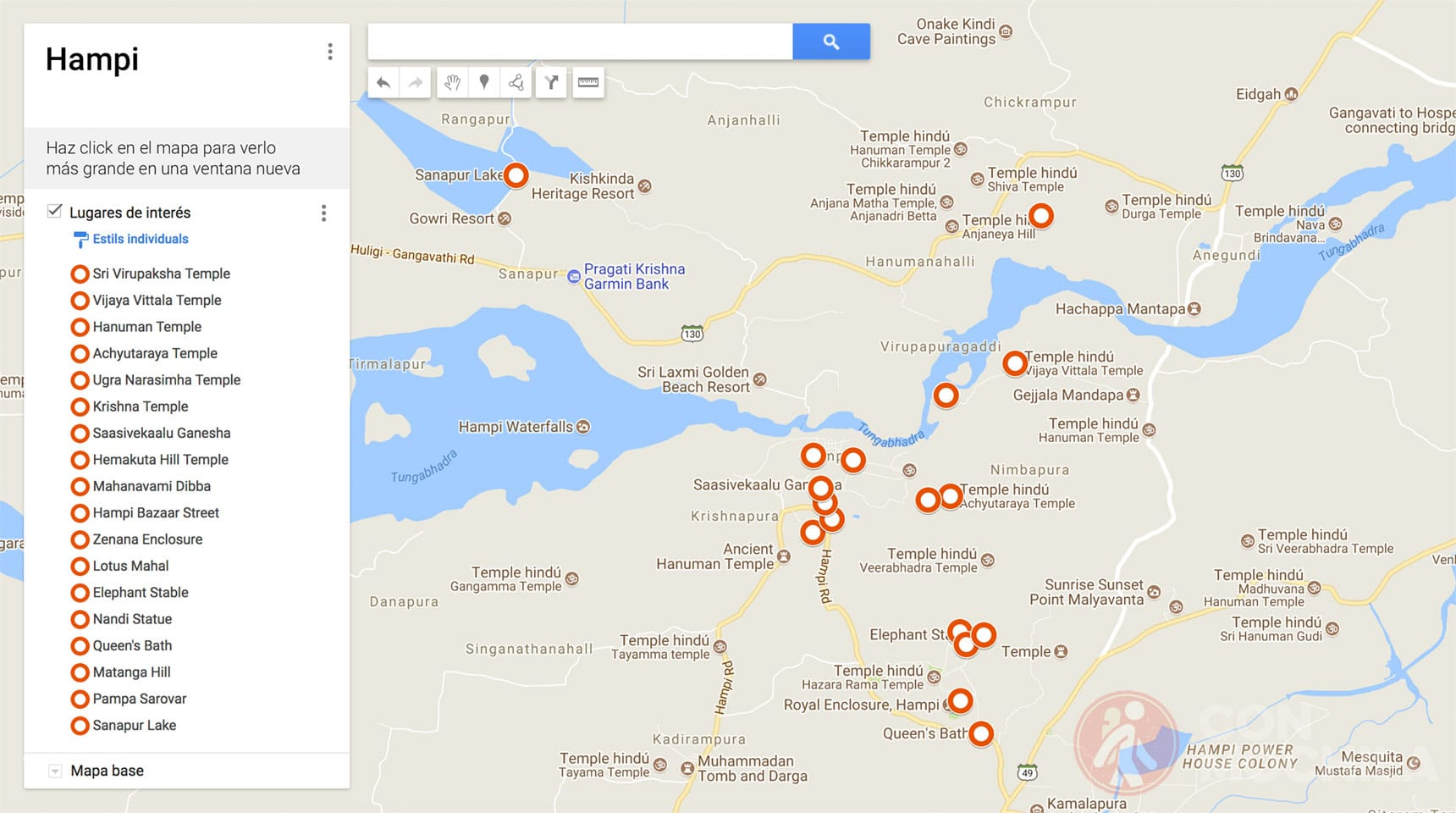 Mapa de Hampi