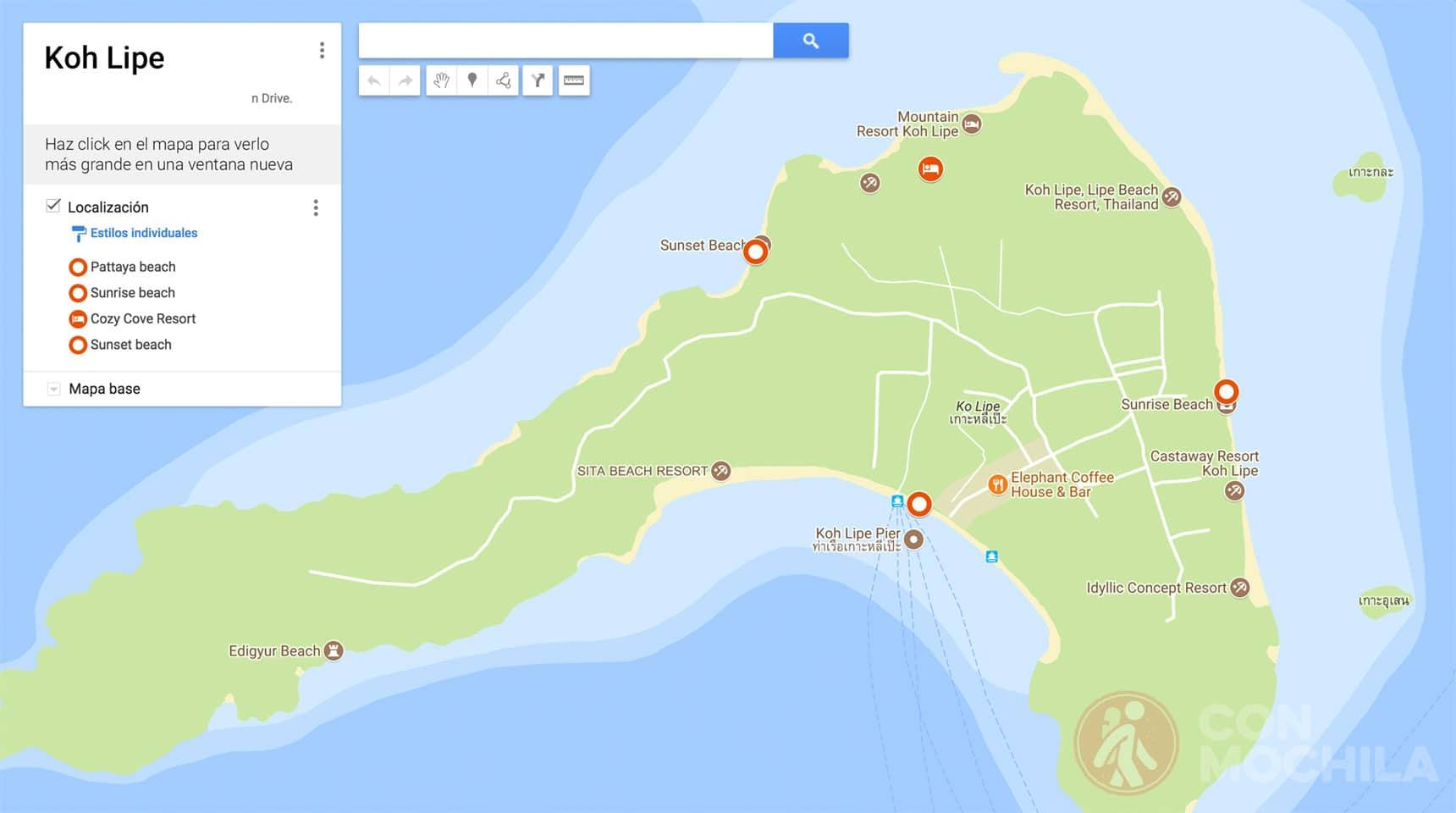 Mapa de Koh Lipe