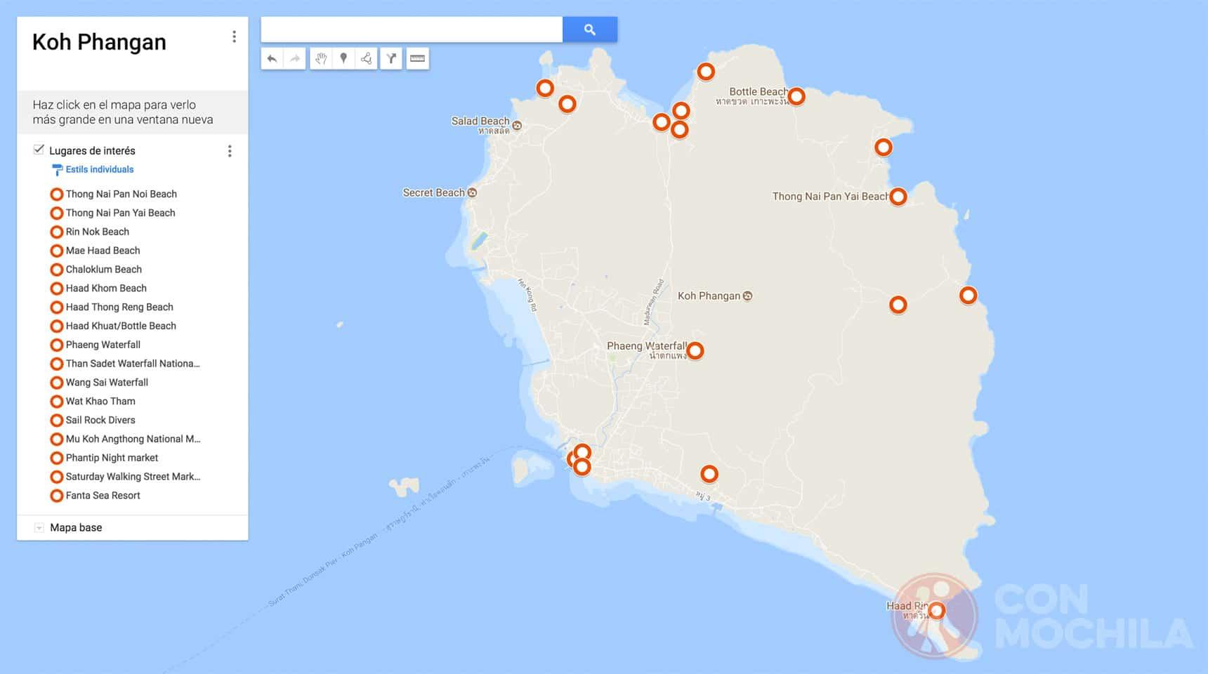 Mapa de Koh Phangan
