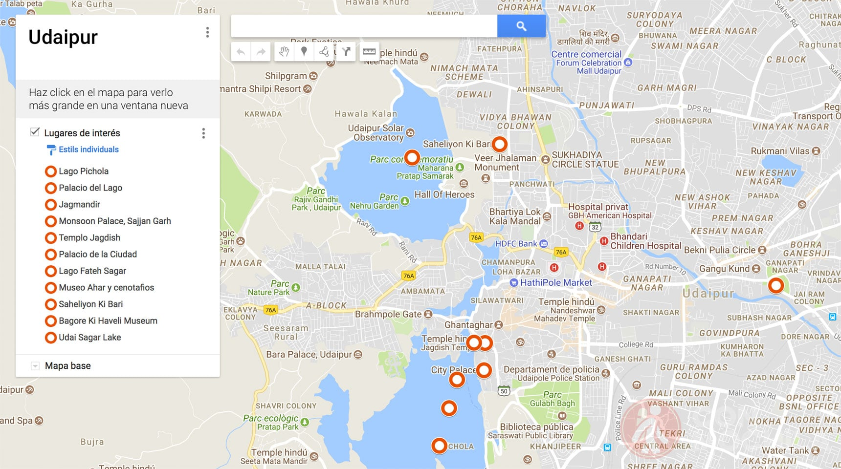 Mapa de Udaipur