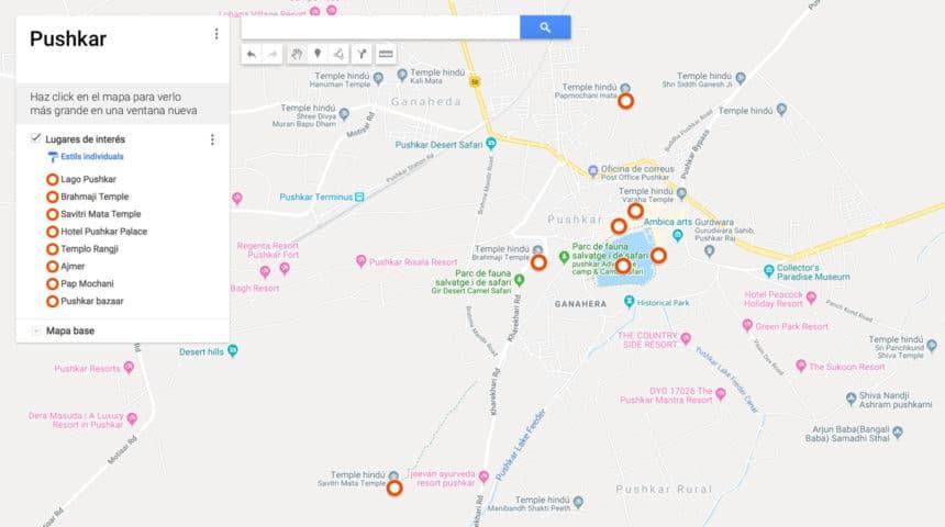 Mapa de Pushkar