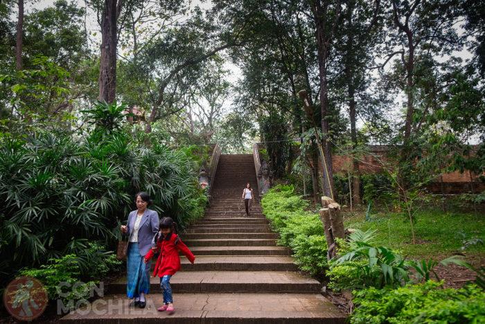 Escaleras que vienen de la zona del chedi