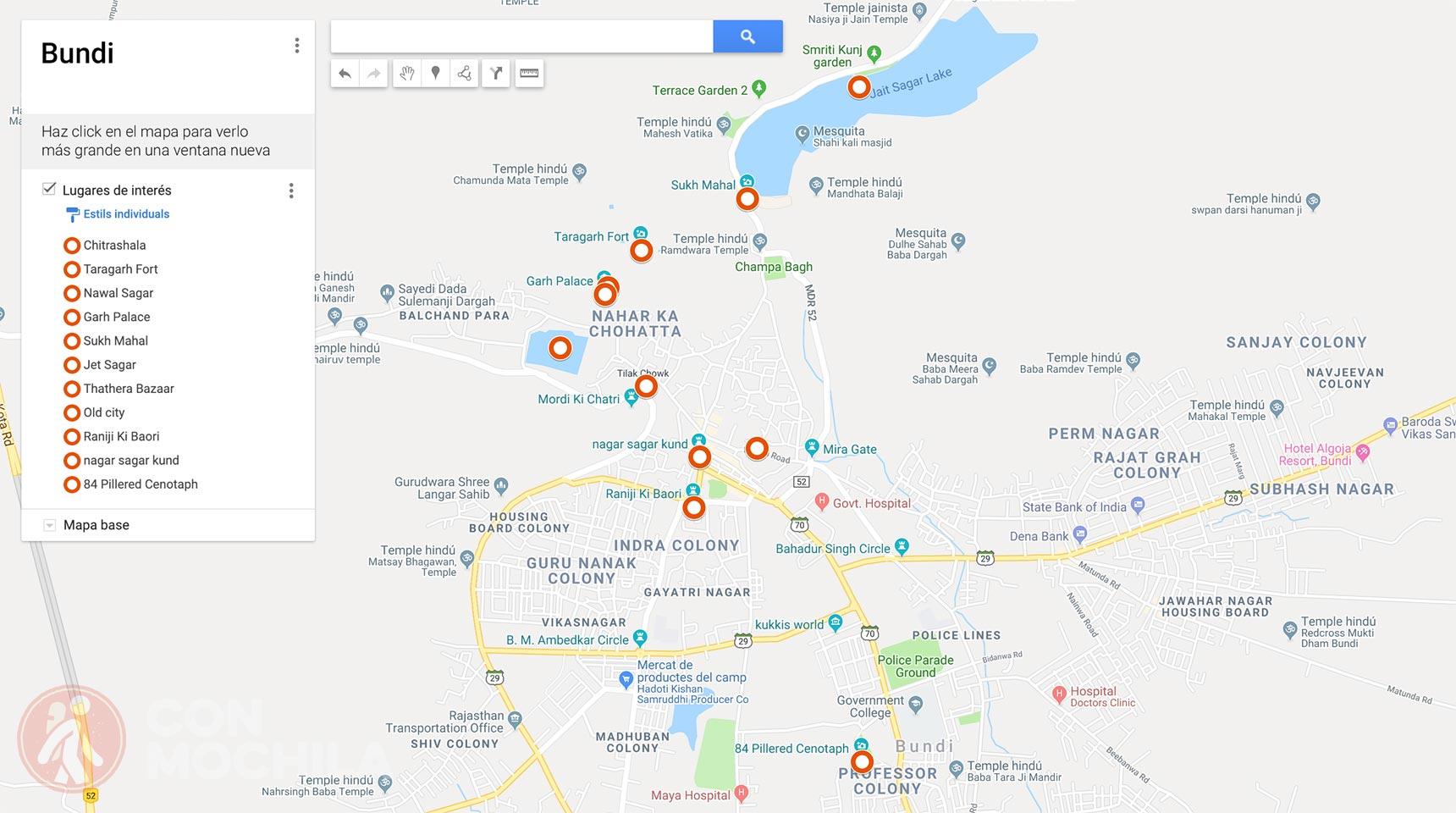 Mapa de Bundi con lugares de interés