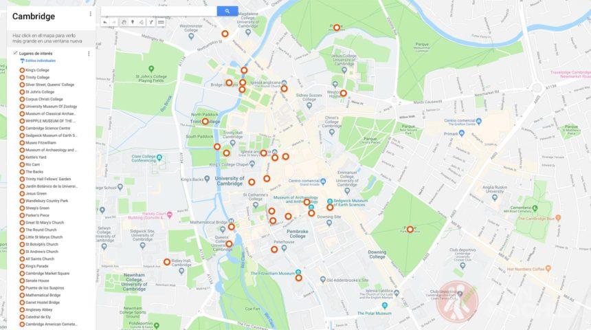 Mapa Cambridge