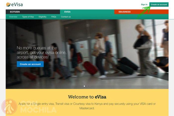 Web oficial visa Kenia del gobierno