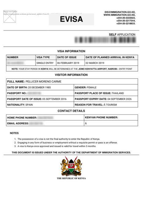 Visado Kenia desde la web del gobierno