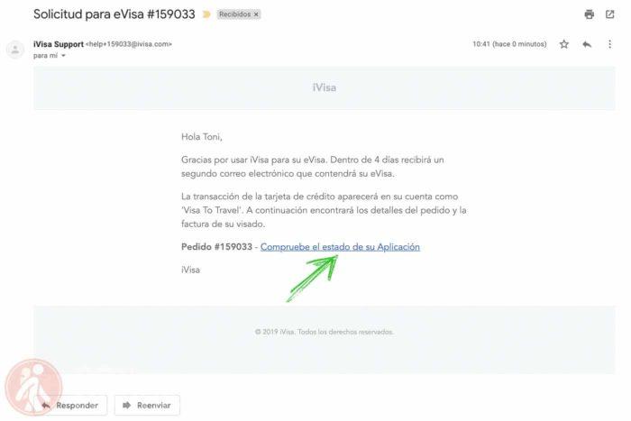 Mail de verificación del proceso