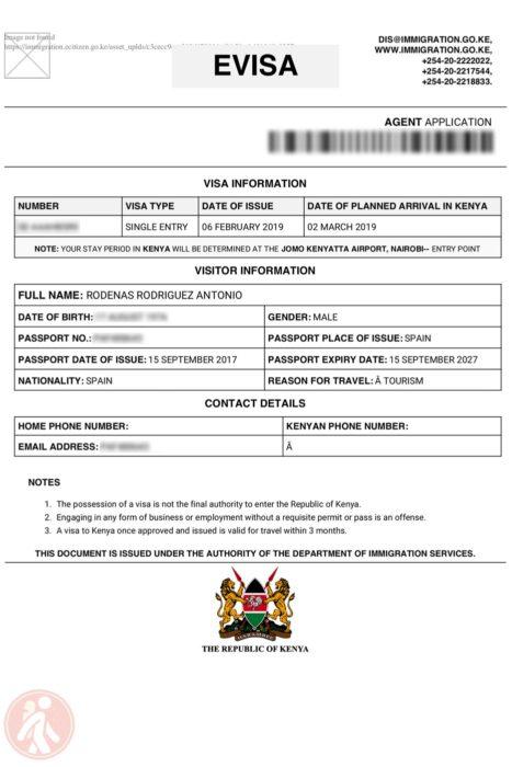 El visado de Kenia