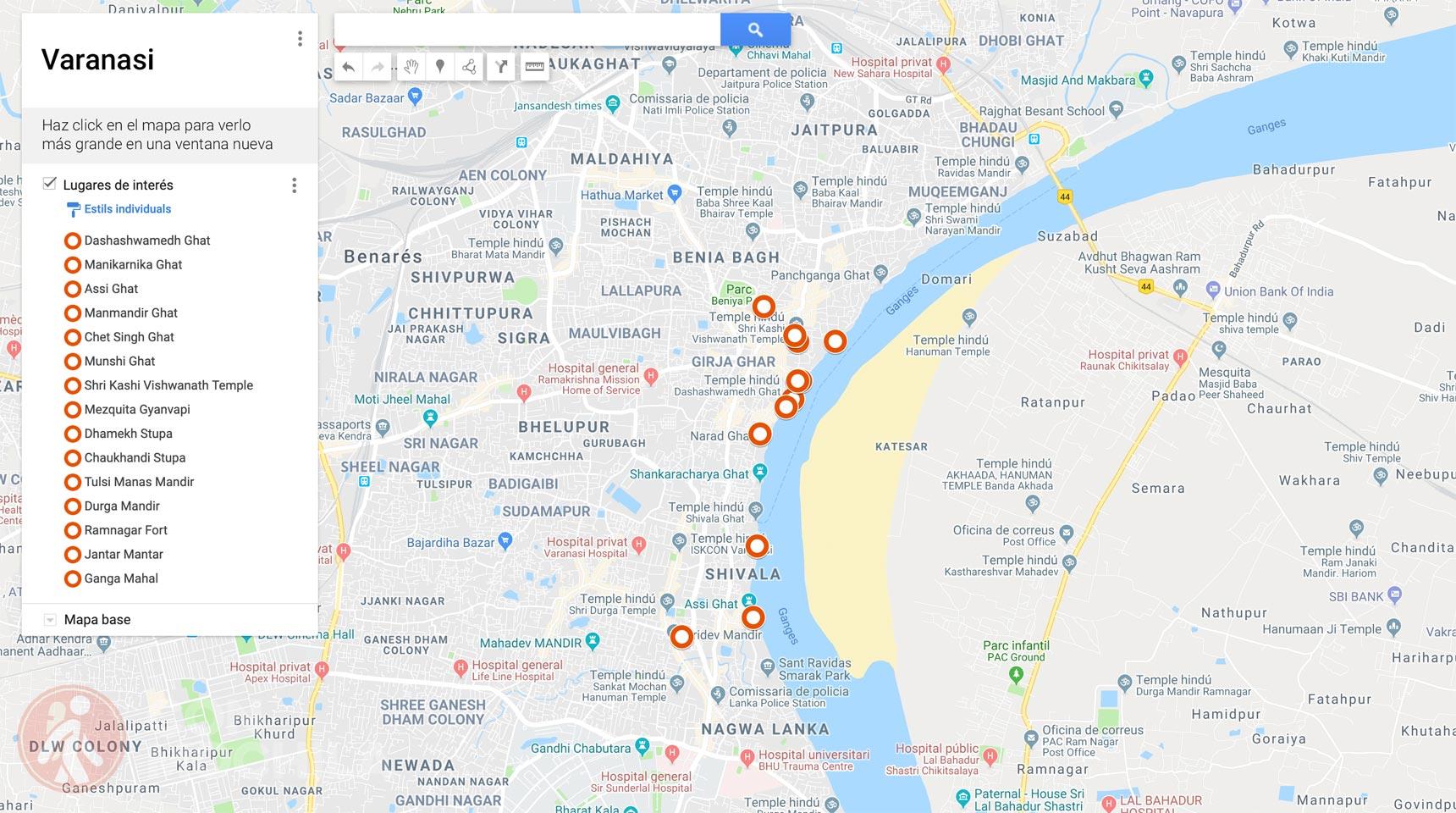 Mapa Varanasi