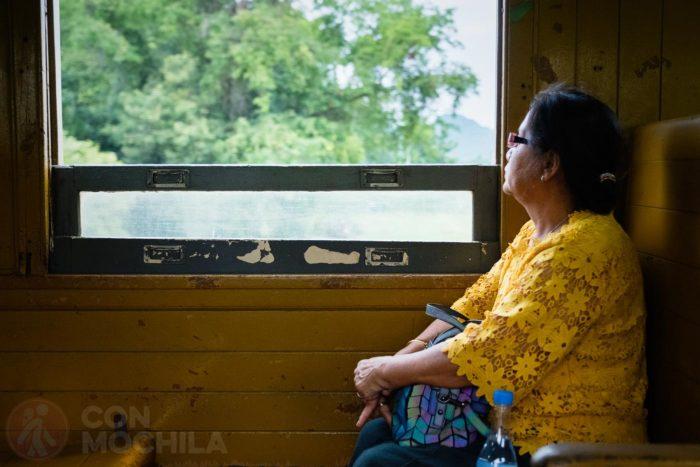 Una señora contemplando las vistas