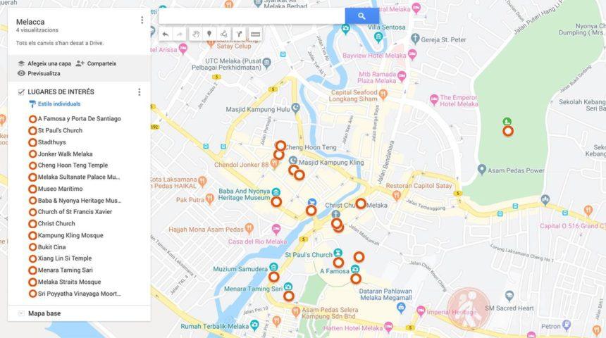 Mapa de Melaka, puntos de interés