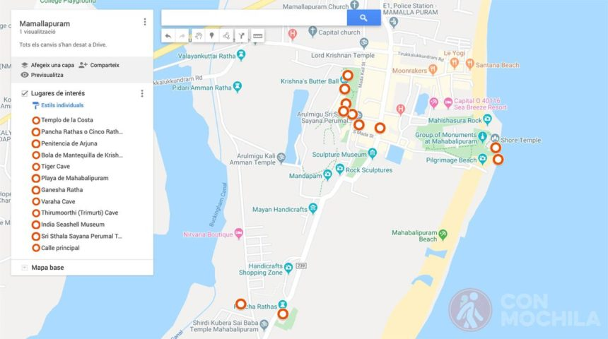 Mapa de Mamallapuram
